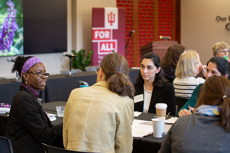 Faculty discuss ideas at the IU Rural Data Summit