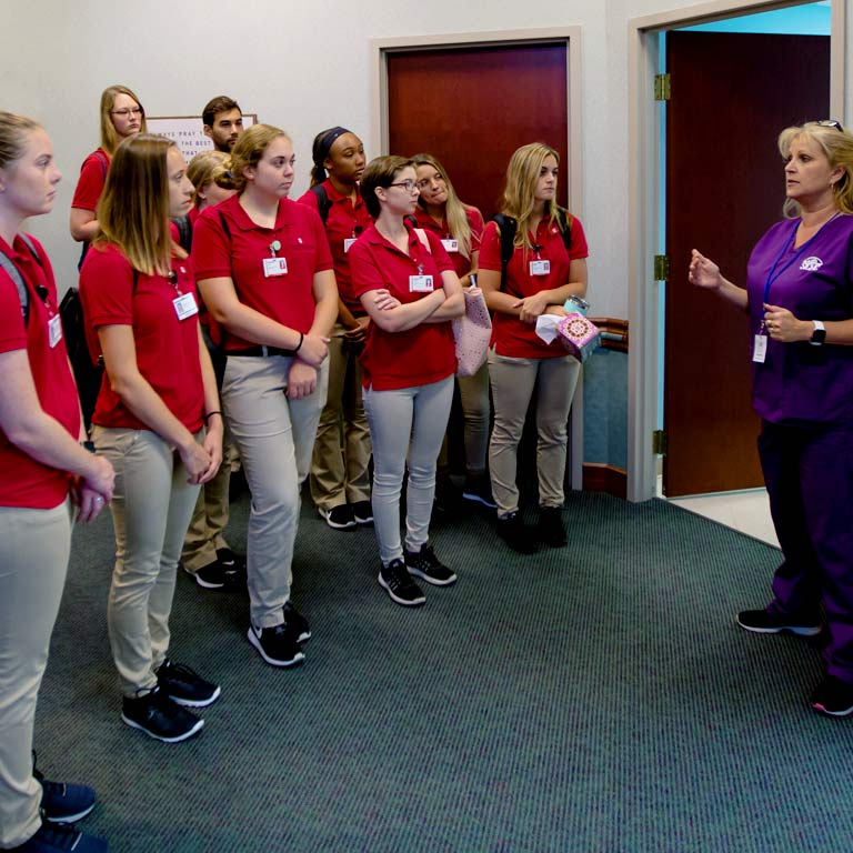nursing students listen to an instructor