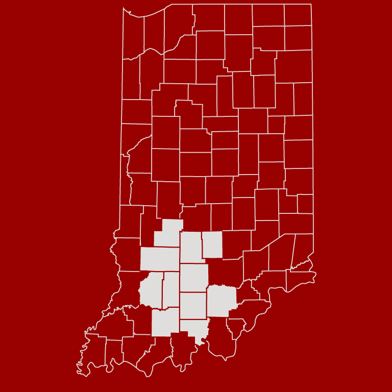 Map of Indiana, with 11 counties highlighted