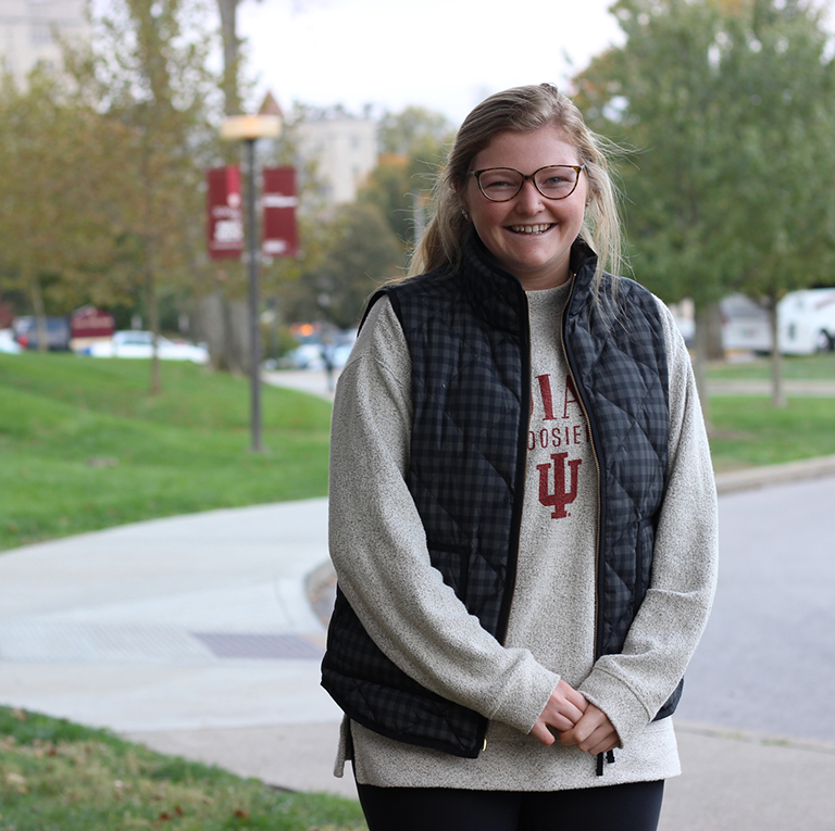 IU Student, Daisy Heath, in Lawrence County, Indiana with Sustaining Hoosier Communities.